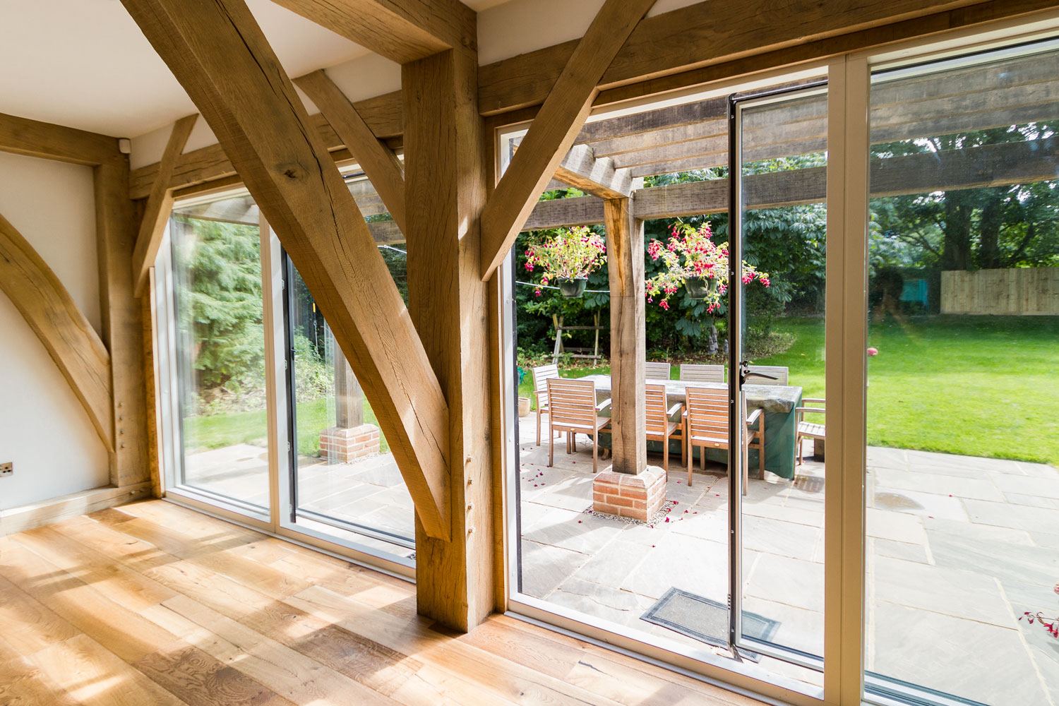 single sliding door in an oak frame house